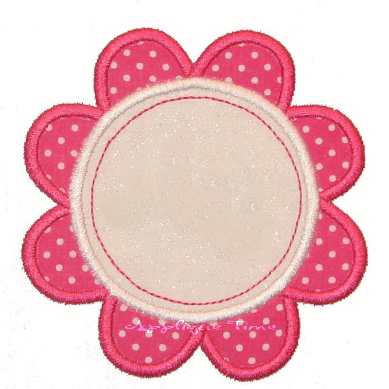 Flower frame machine embroidery applique design by