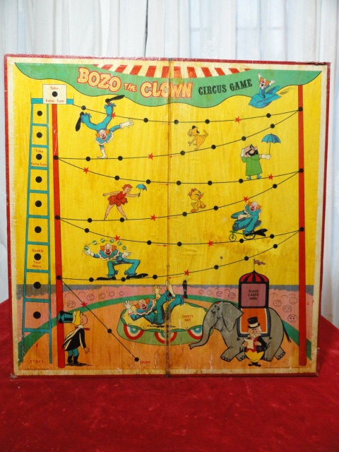 Vintage Game Board Circus Clowns Wall Hanging By