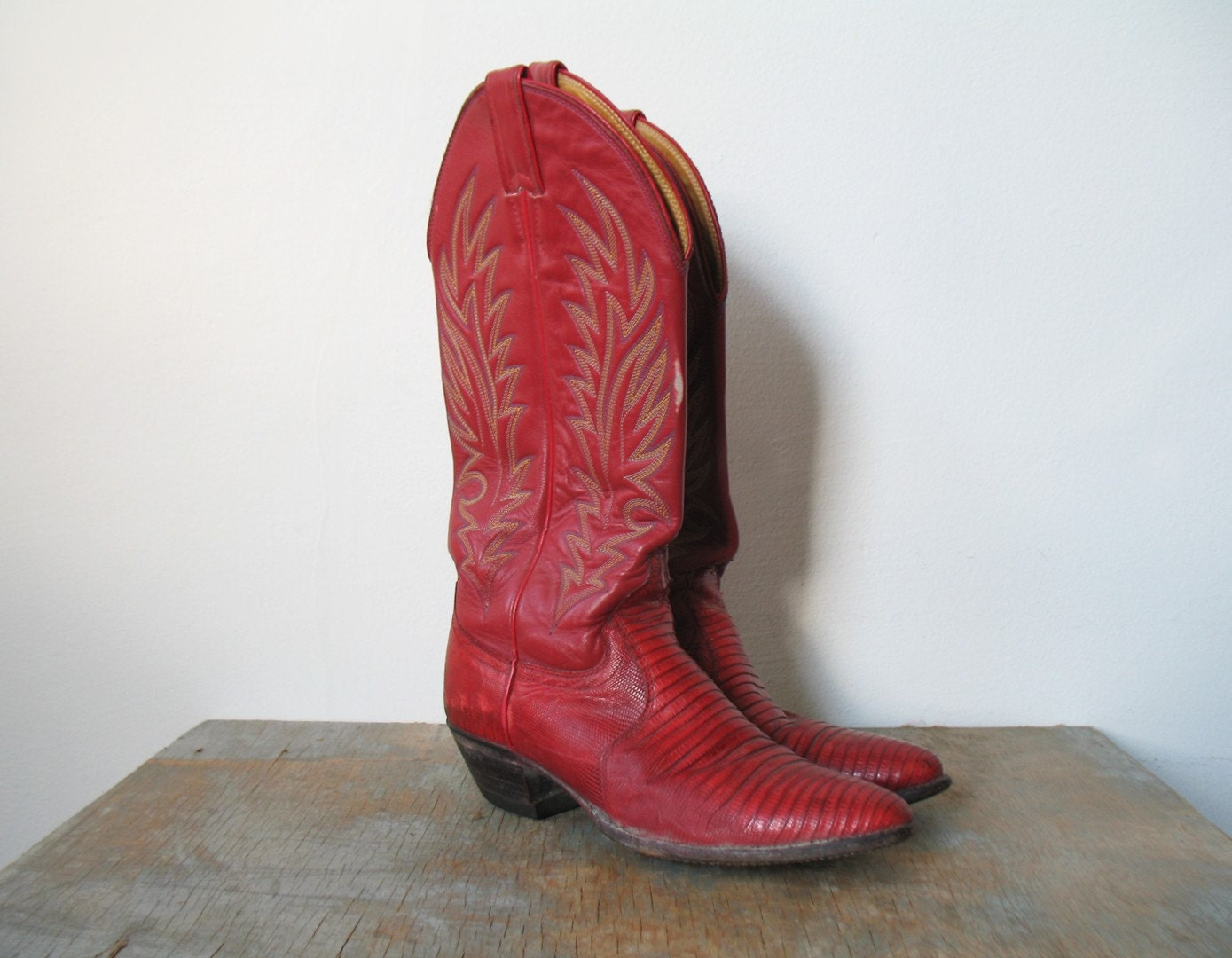 Vintage 70s 80s Justin Red Cowboy Boots Men 6 B By