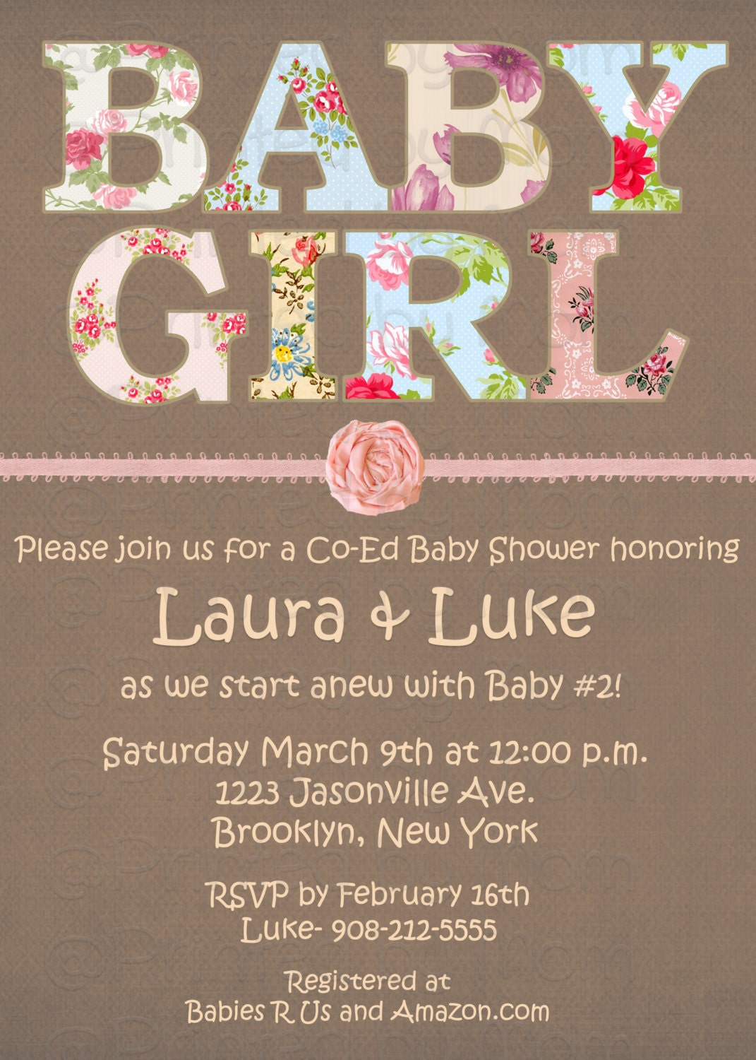 shabby chic baby shower invitation print at home diy