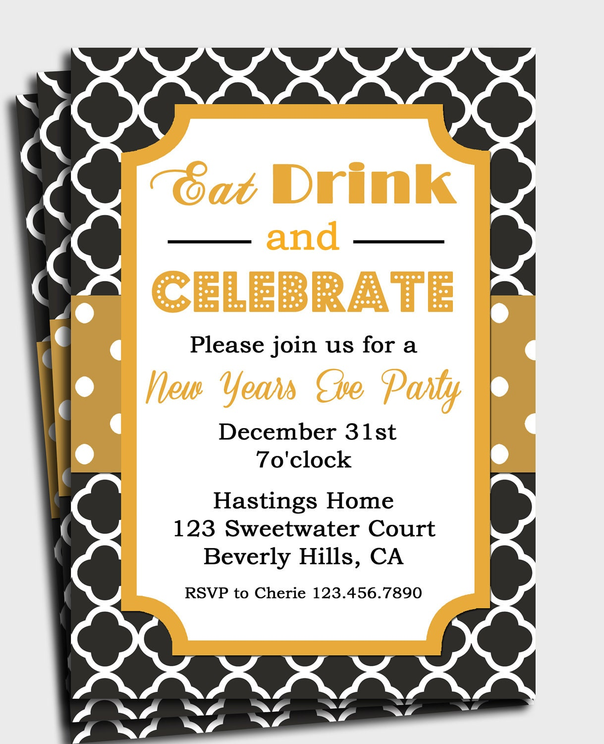 New Years Eve Invitation Printable - Eat Drink and Celebrate - Black and Gold