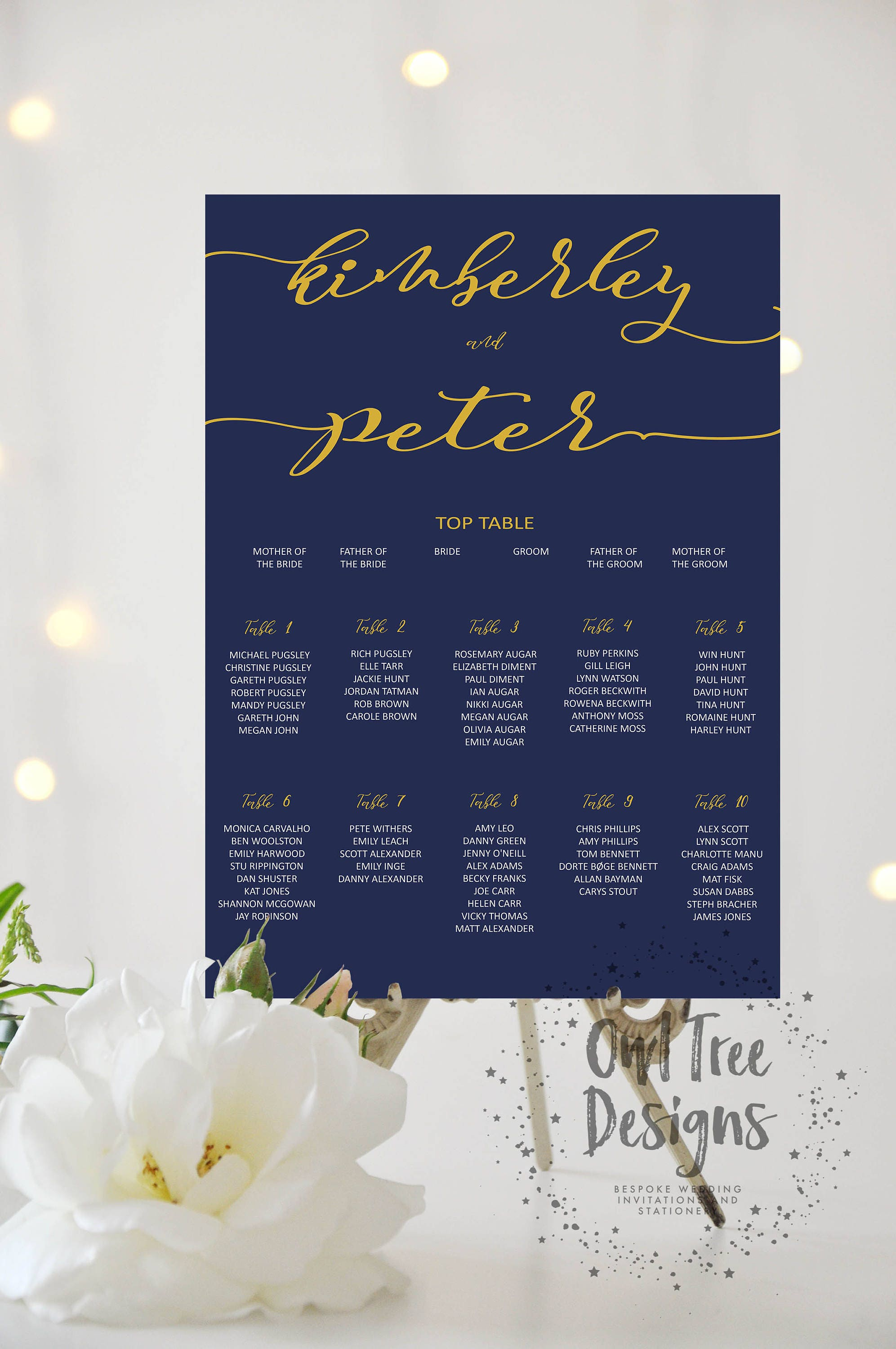 Personalised Printable Wedding Table Plan Downloadable Seating Plan Digital file customisable print Seating Chart navy  gold