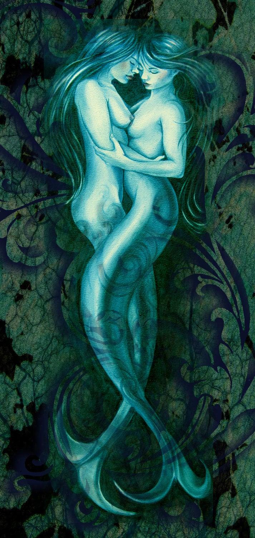 Nude mermaids - print of two mermaid lovers