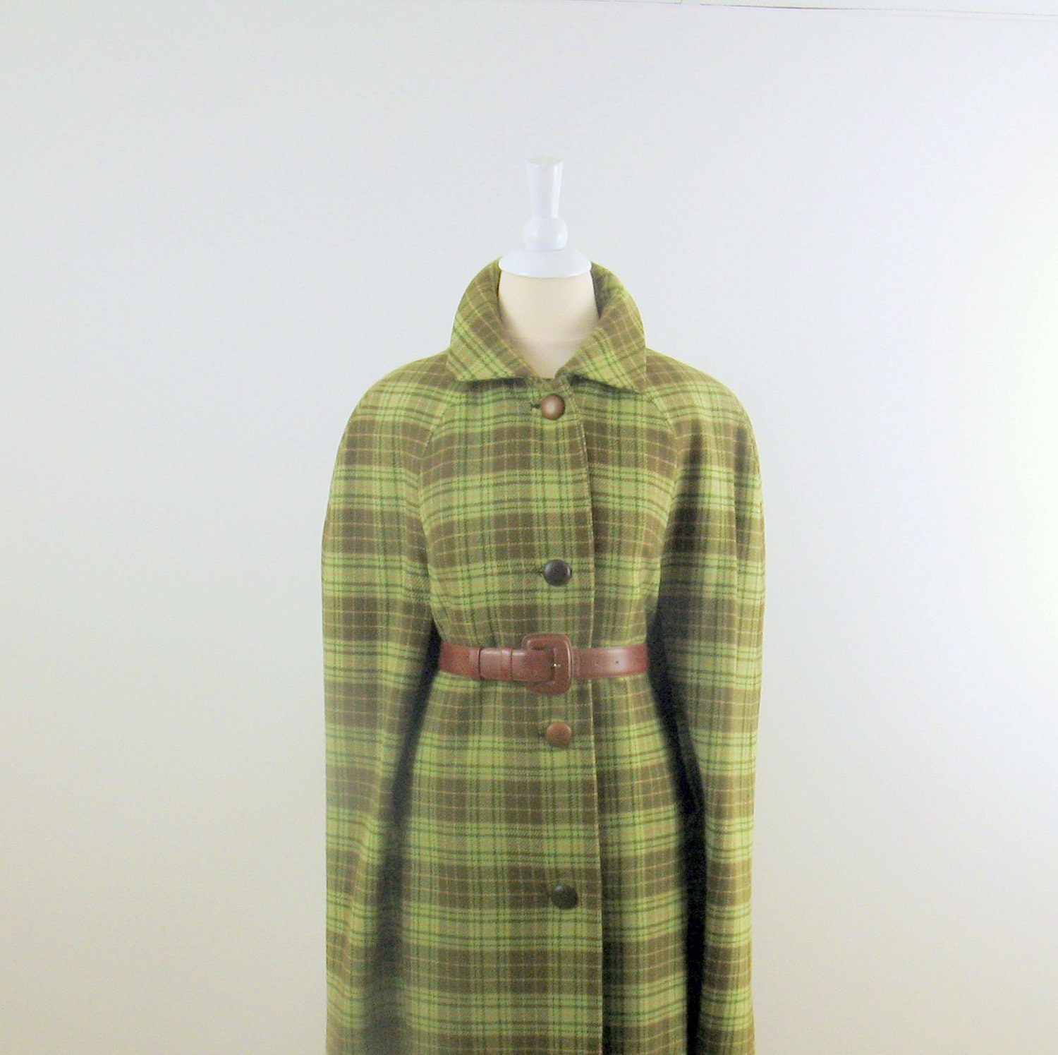 Vintage Wool Cape - 1960s Green Plaid - One Size by Habig Rodex England - TwoMoxie