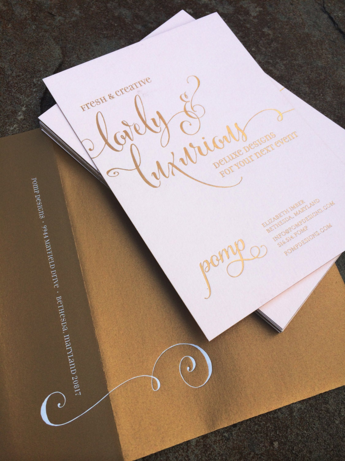 Blush Pink And Gold Foil Stamped Wedding Invitation By Pompdesigns