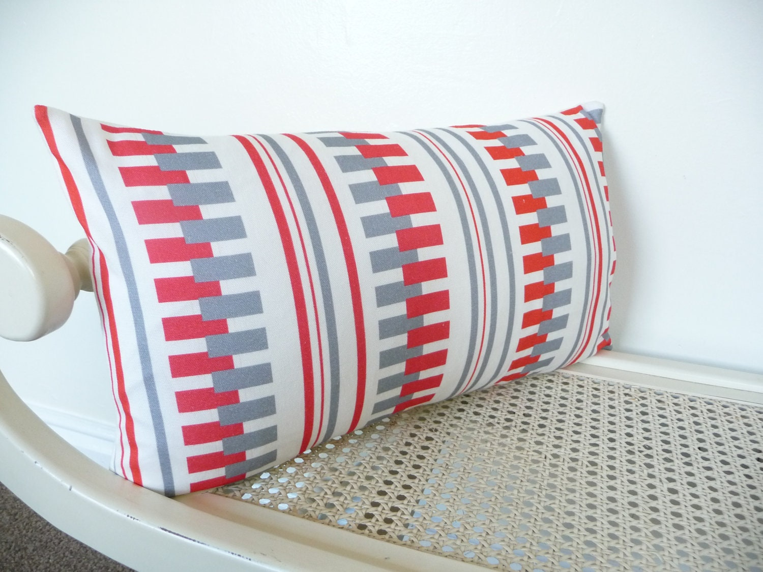 Cushion Retro Red Grey white throw Pillow Decorative Cushion, slip Cover scatter cushion - FrancishouseDesign