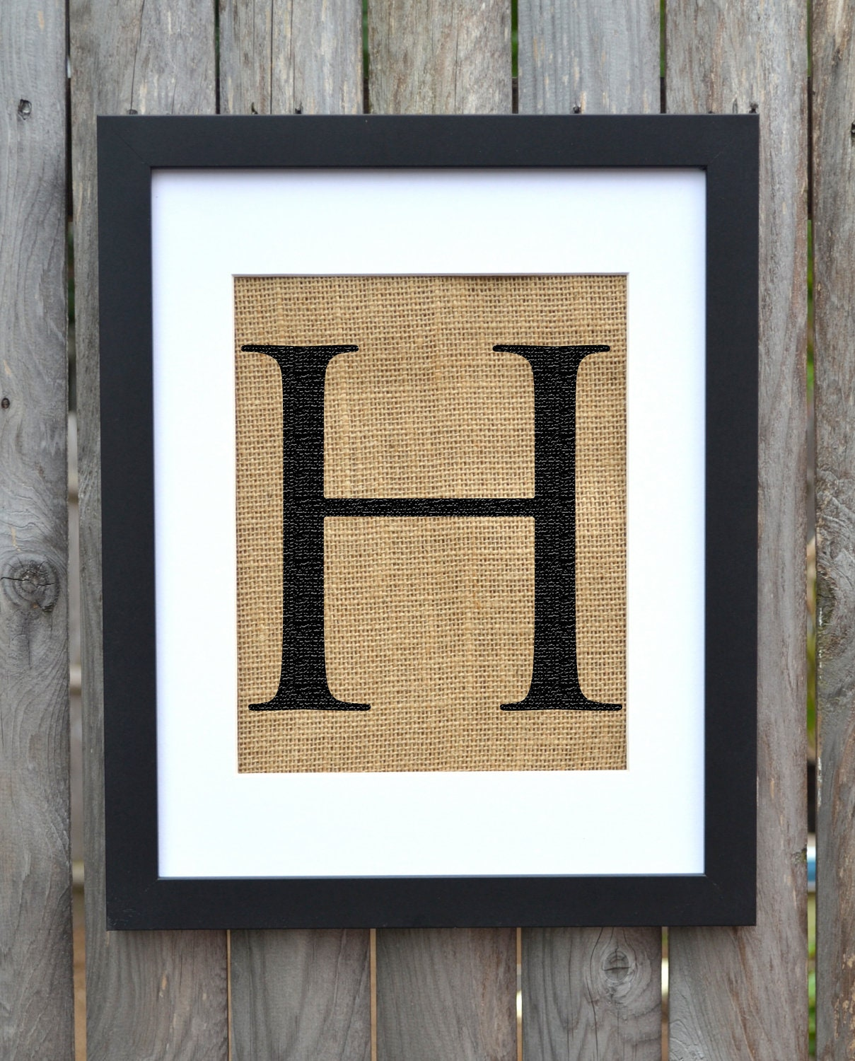 Letter h burlap print monogram alphabet burlap by for Alphabet wall decoration