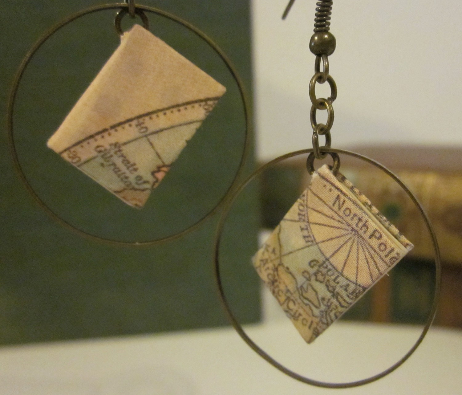 Miniature Map Covered Book Earrings in Hoops - TheBookCellar