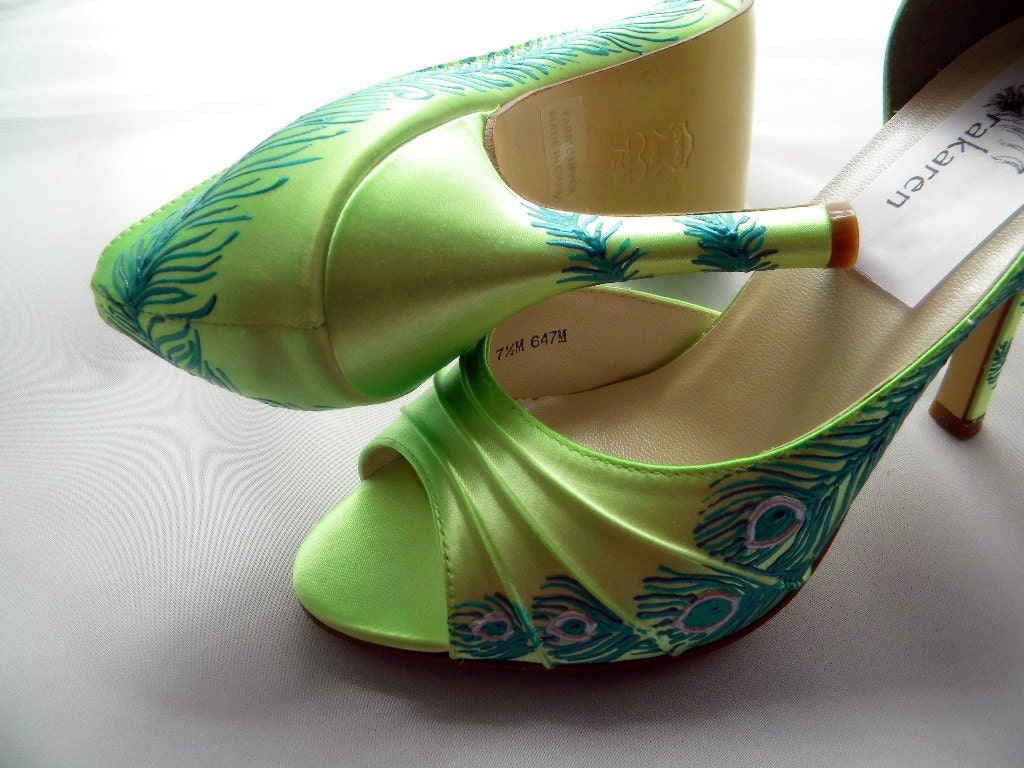wedding shoes peacock feather sale lime green by norakaren on etsy