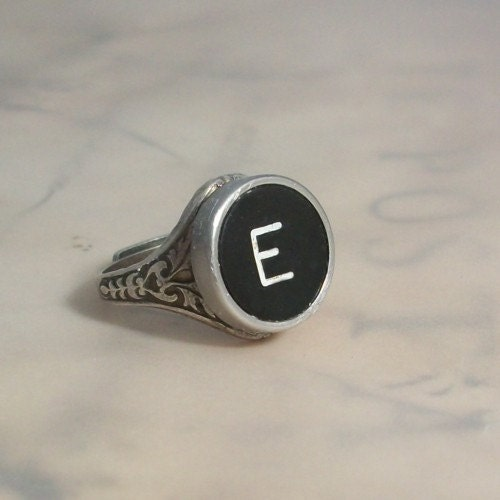 Letter E Ring Letter E Vintage Typewriter Key Ring By Keysandmemories On