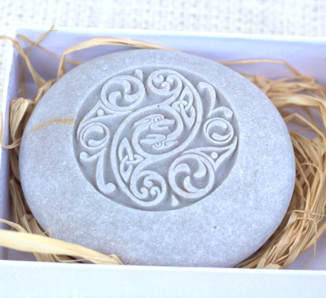 Celtic design home decor stone paperweight hand by sjengraving for Celtic decorations home