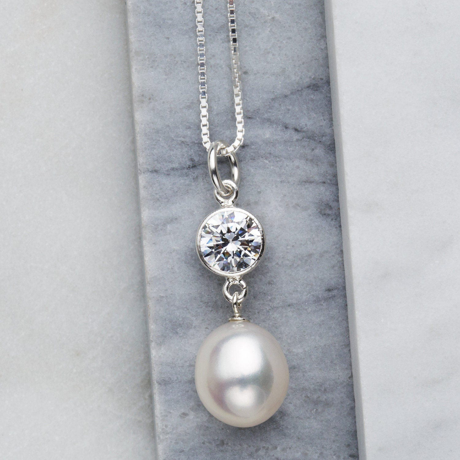 Pearl pendant necklace  pearl and sparkle  bridal jewellery Freshwater pearl  bridesmaid gift  wedding jewellery  bride necklace