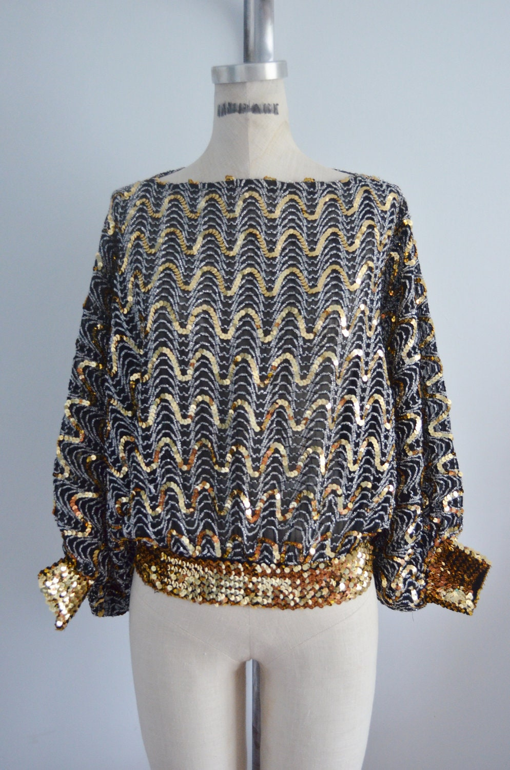 Vintage 70s GLAM Sequins BATWING DISCO Top Blouse by ...
