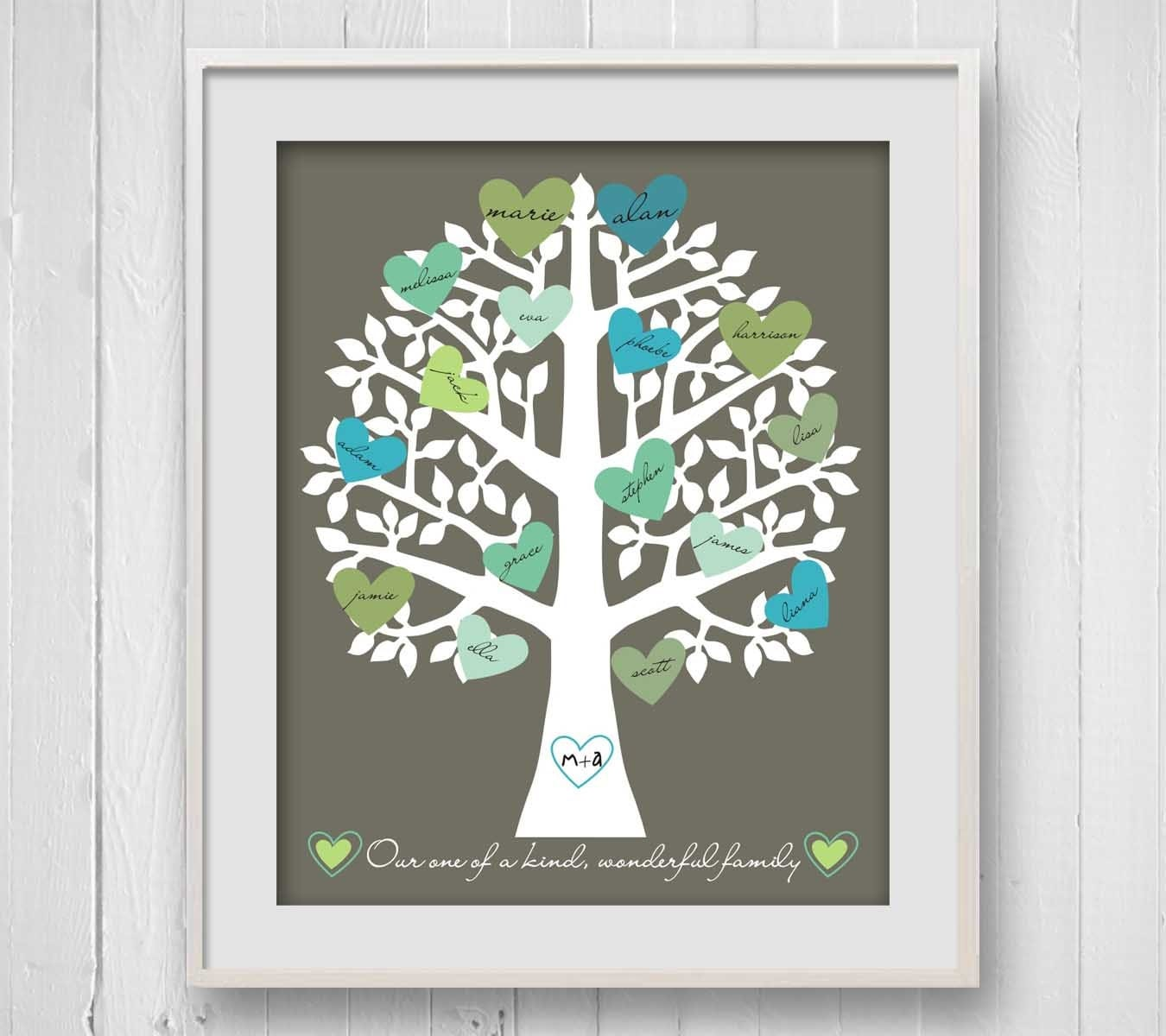 Family Tree Print Retro Heart Typography by SoakStudio on Etsy