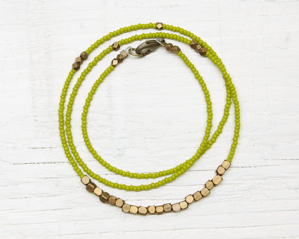 Everyday Necklace Beaded // Olive Green and Brass - GreenHouseFraming