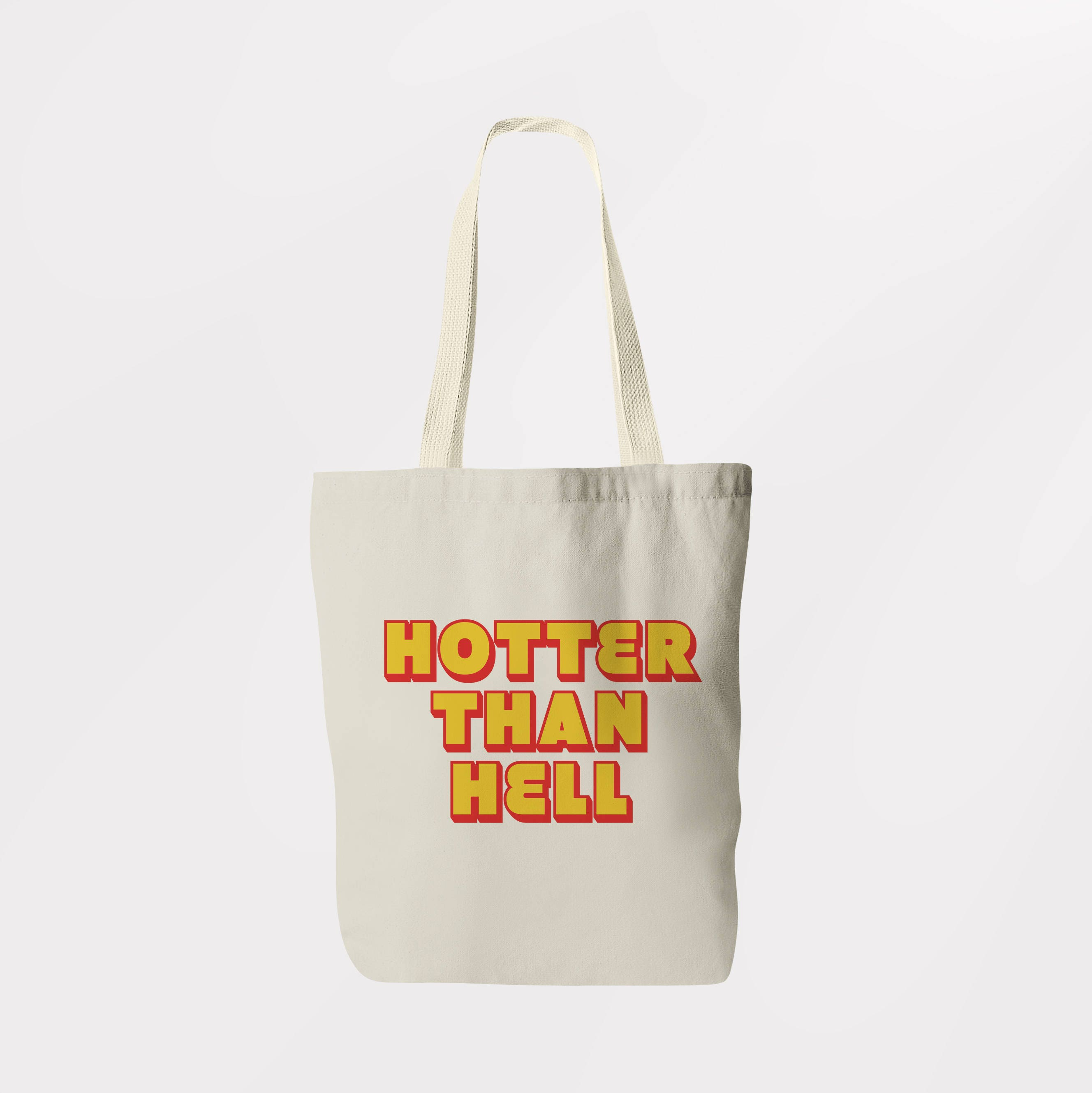 Hotter Than Hell Tote Bag  Shoulder Bag  Book Bag  Shopping Sachel  Graphic Logo Eco Friendly Bag