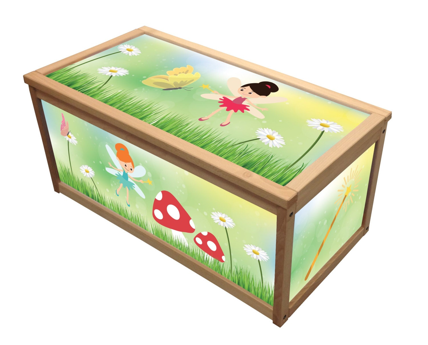 Fairies  Wooden Toy Box  Chest Box  Girls and Boys Toybox