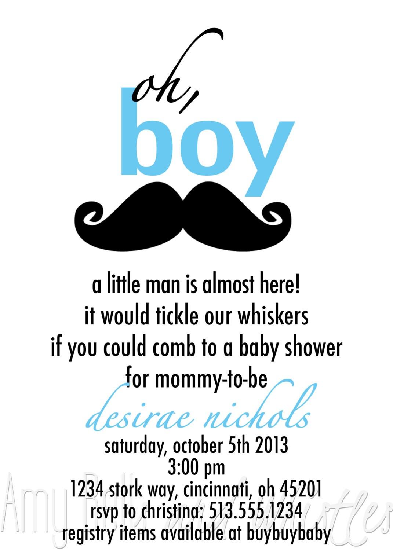 Mustache Invitation with adorable invitation sample