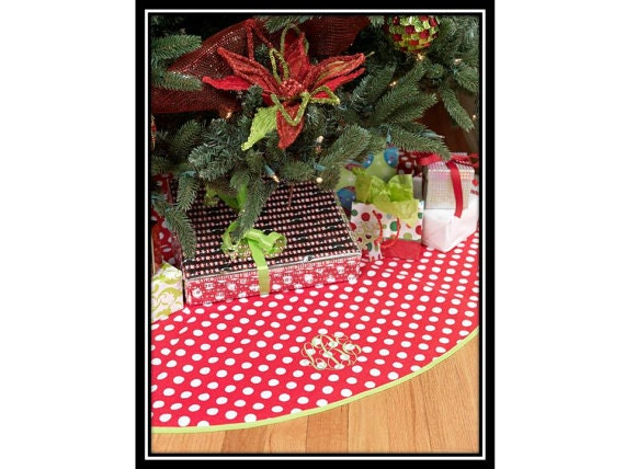 Items similar to Polka Dots Christmas Tree Skirt- Custom Monogrammed Red and White Polka Dots ...