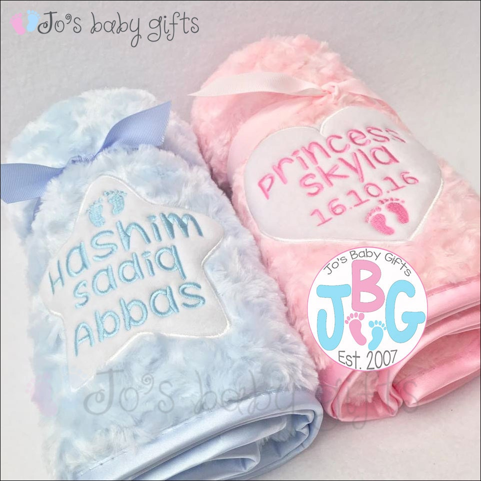 Personalised baby Fluffy blanket Luxury Embroidered blankets custom blankets star or heart design new baby gift baby showerchristening
