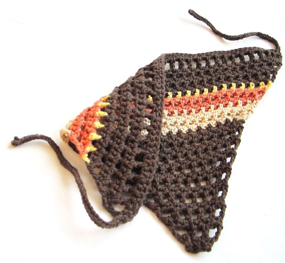 hair kerchief, adjustible bandana for women, girls, teens, and toddlers - dark brown with nectarine, orange, yellow stripes, ready to ship - BaruchsLullaby
