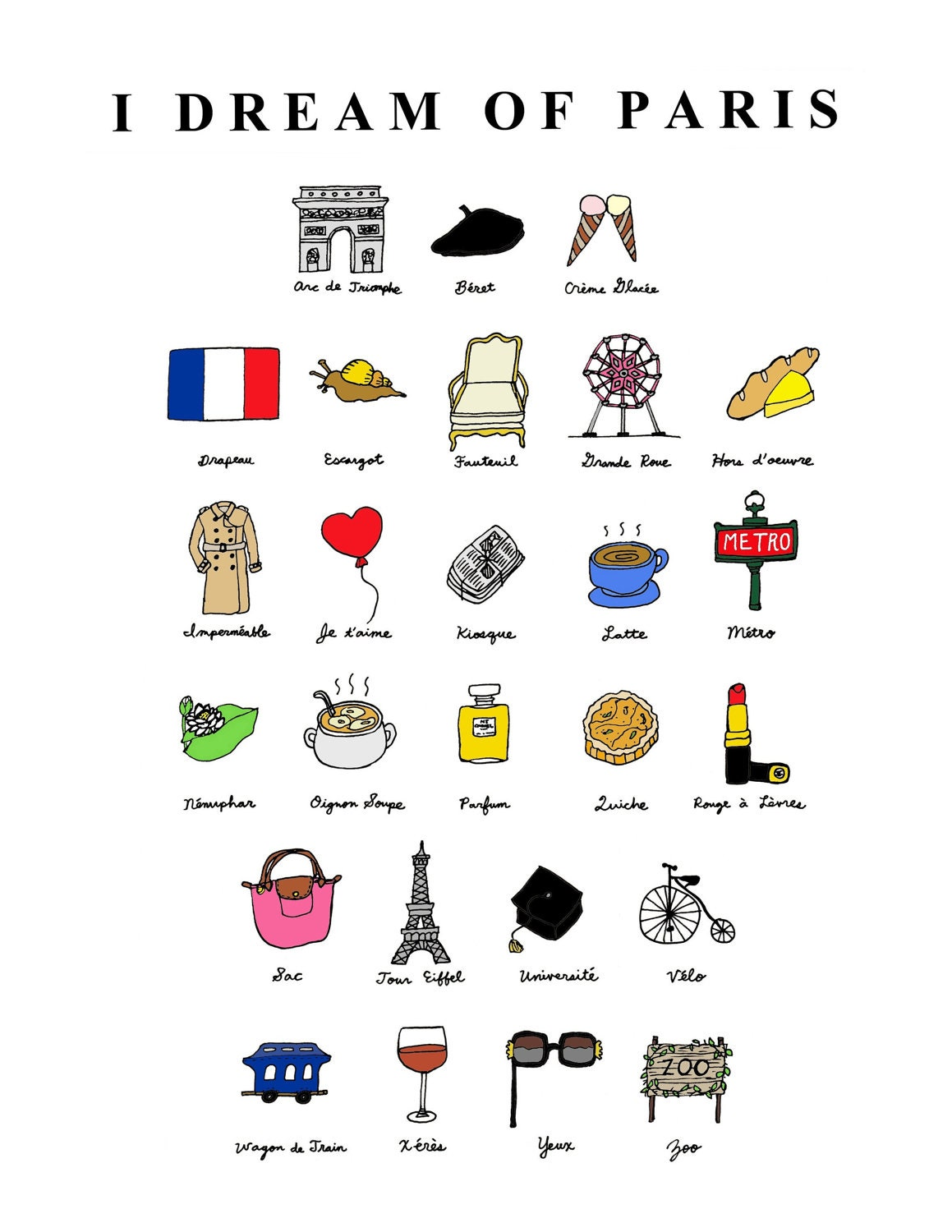 I Dream Of Paris French Abc S 8x10 Illustration Art By