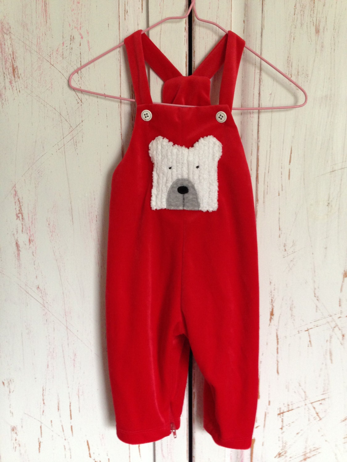 Vintage Red Velour Baby Overall By Sweet Potatoes 12 months - BlueLittleBirds