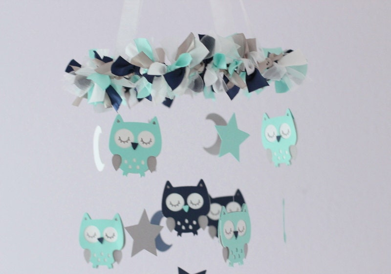 OWL Nursery Mobile in Aqua, Navy, Gray & White- Baby Mobile, Crib Mobile, Baby Shower Gift