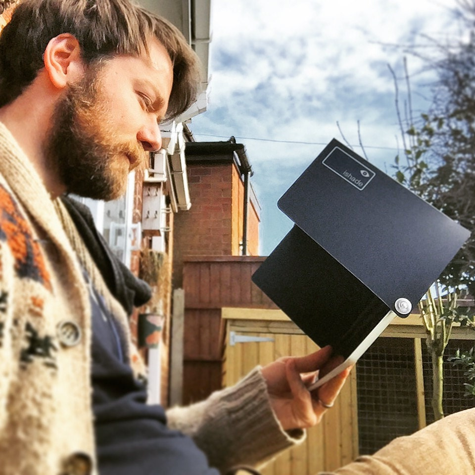 iPad sunshade sunshade. The iShade is a sunshade for your screen. It keeps the glare off when its sunny. Ideal for outdoors