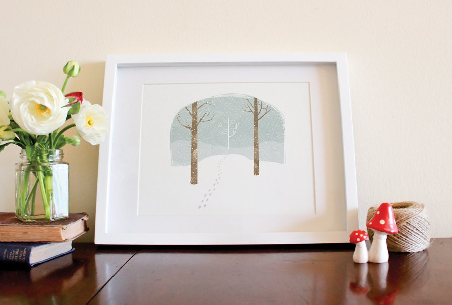 Winter Bell Jar - 8 x 10 Art Illustration Print - milkandcookies