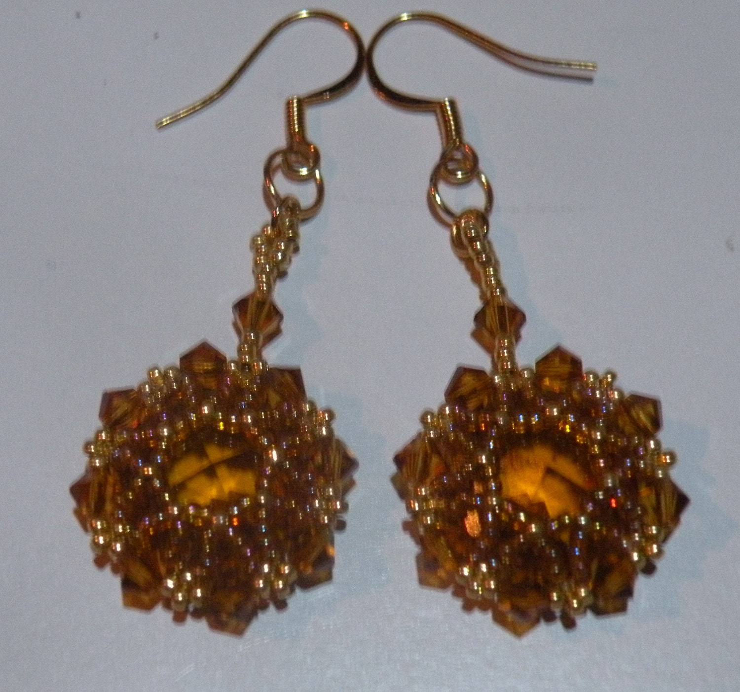 Amber, Topaz and Gold Octagon Crystal Earrings