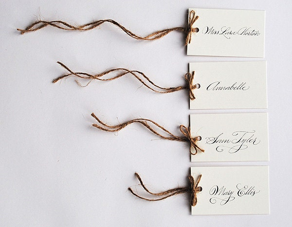 Calligraphy wedding place names with jute twine - pack of 10