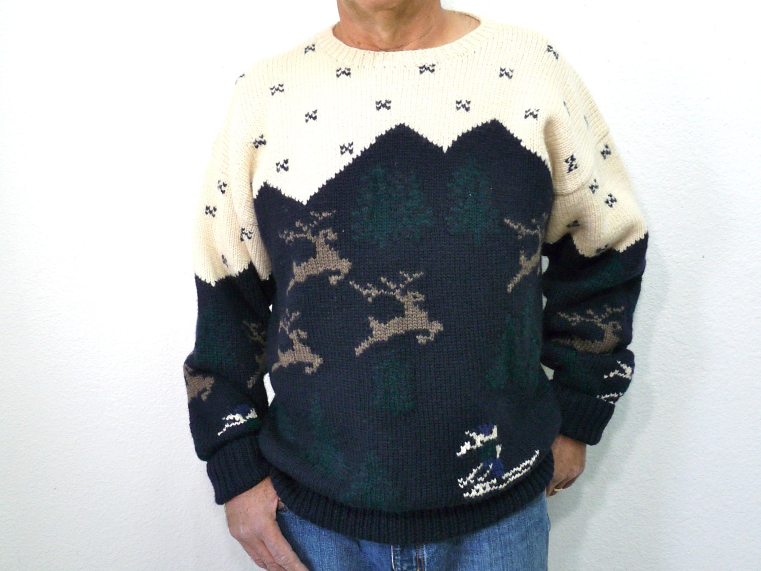 Mens Wool Sweater Hand Knit 1980s Byford Deer Tree Snow Ski  X Large - KMalinkaVintage