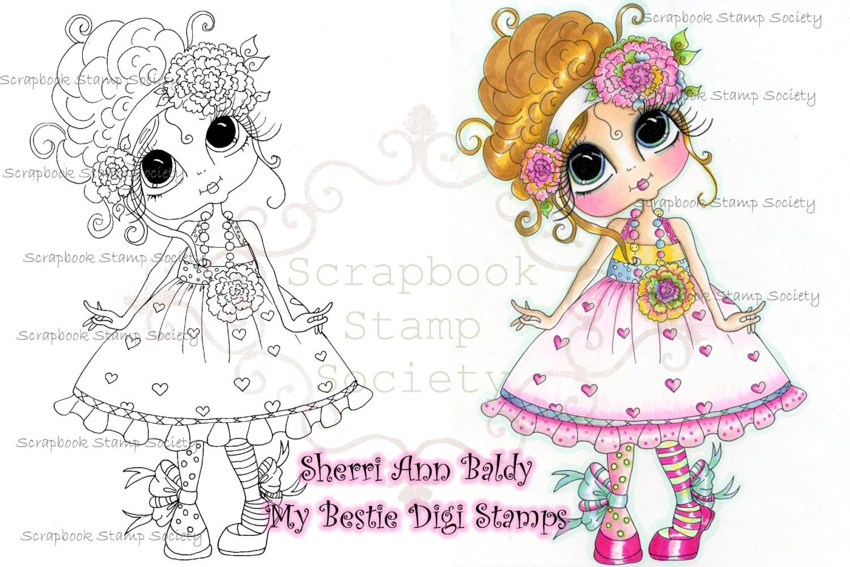 Téléchargement instantané numérique Digi Stamps ventru grosse tête poupées Digi peu Bestie QT par Sherri Baldy