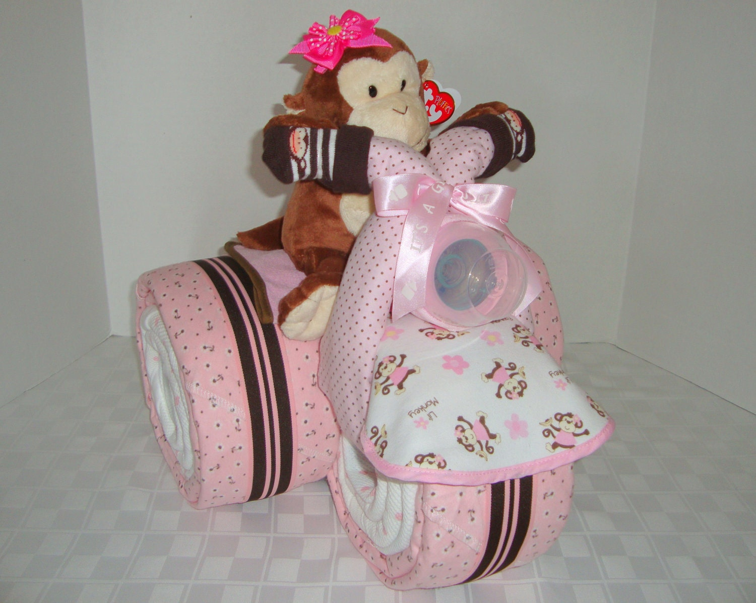 Baby Gift Nappy Cake : Baby gift monkey cake safari tricycle by arizonababycakes