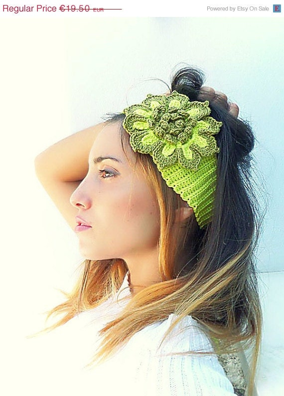 ON SALE. 30% OFF. Ear warmer, Lime Green Crochet  Neon headband, Hair accessory, crochet floral headband, unique, handmade.
