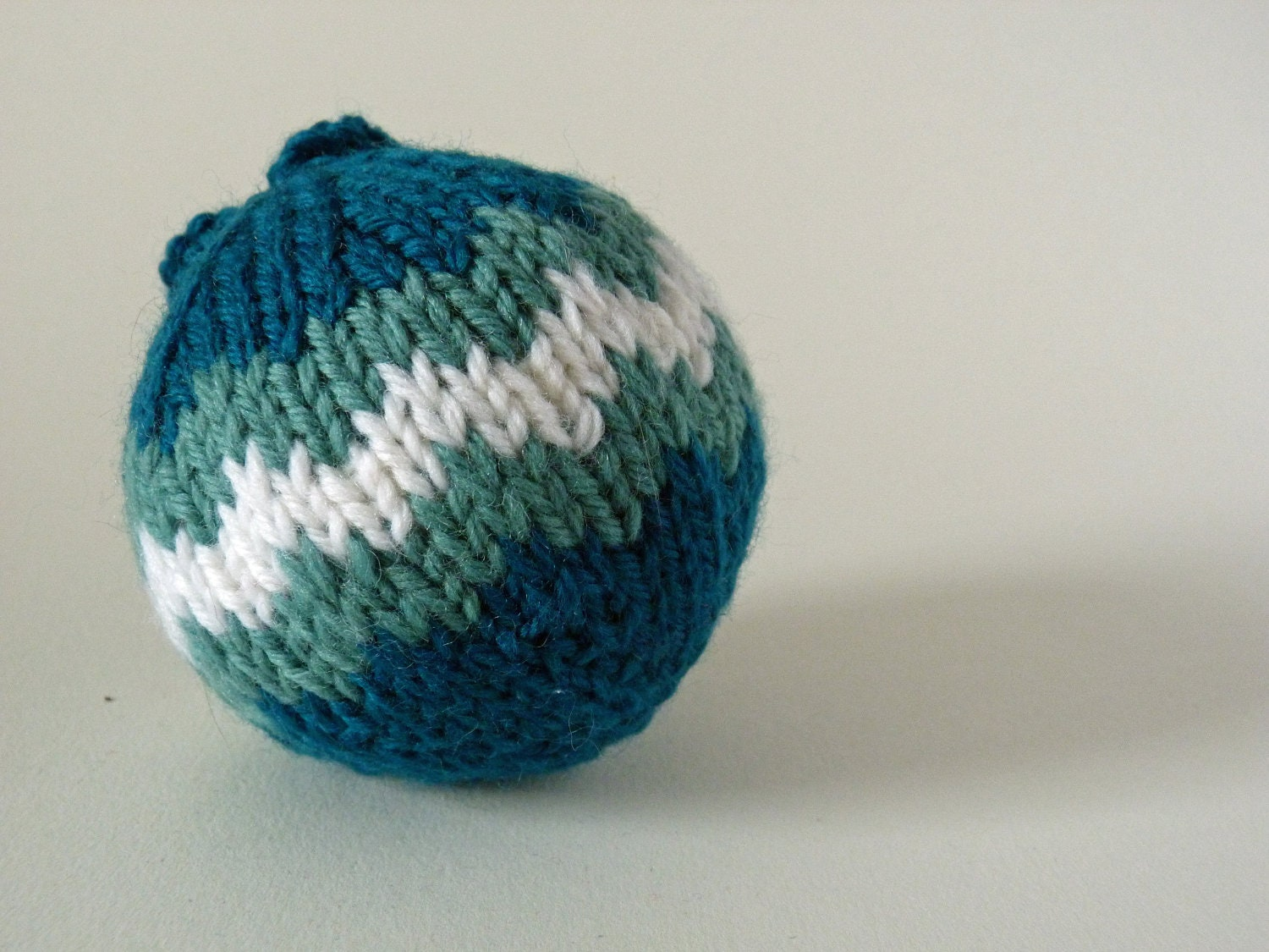 Turqoise Teal White Chevron Christmas Bauble Hand Knitted