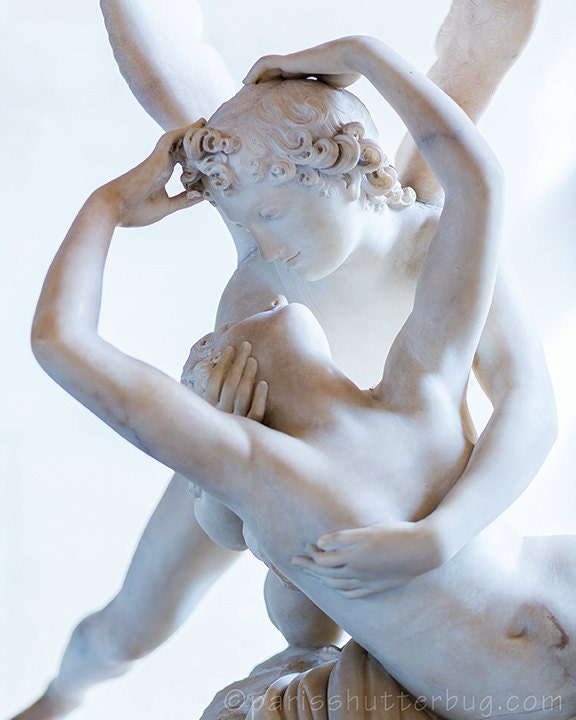 "Paris Photography Fine Wall Art, ""MARBLE LOVE,"" Famous Canova Statue in the Louvre, Fine Home Decor, off white, neutral tones - ParisShutterbug"
