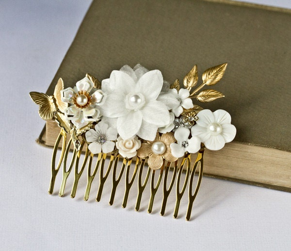 Bridal Hair Accessories Wedding Hair Comb Gold White Flower Hair Piece