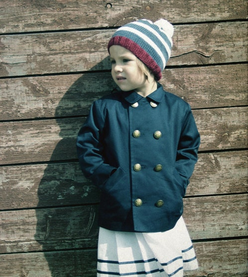 Pea coat for boys and girls. NAVY BLUE