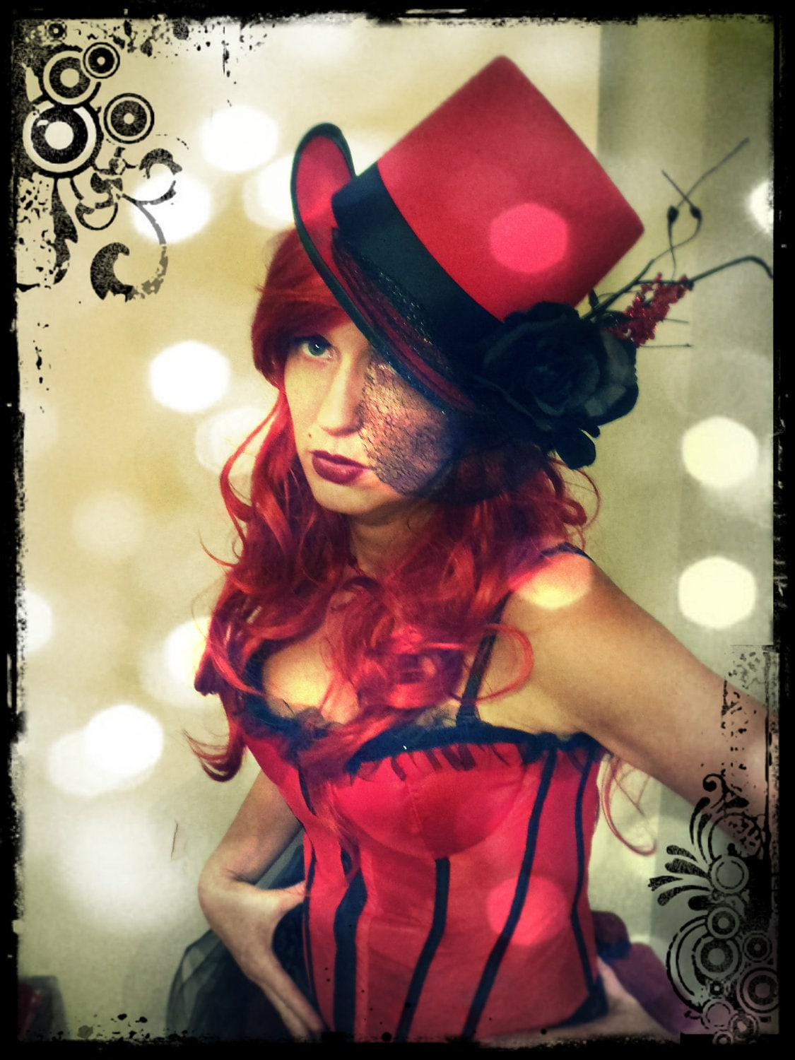 Valentines Day Moulin Rouge-style Red and Black Burlesque Corset and Victorian Bustle Skirt