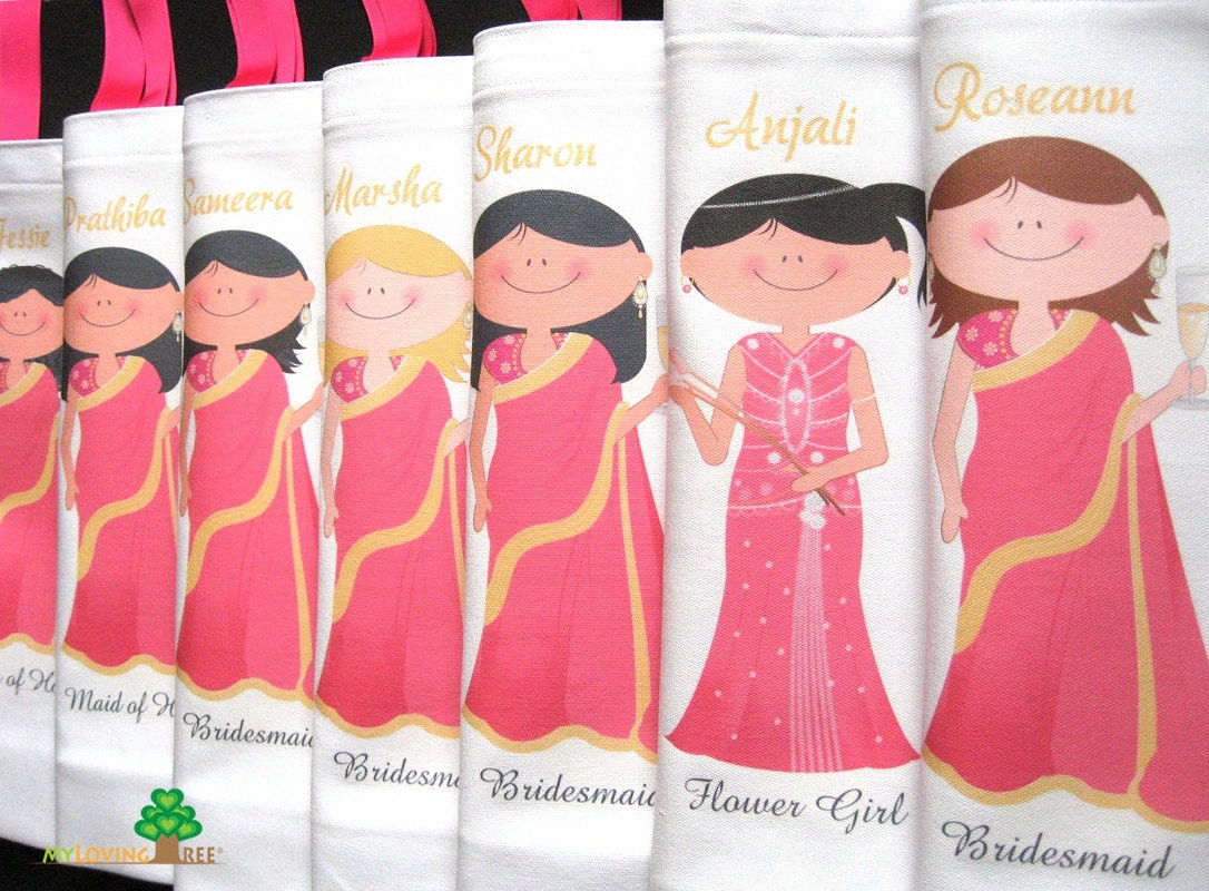Personalised Wedding Gift India : Personalized Indian brides and bridesmaids sari wedding gifts bags or ...