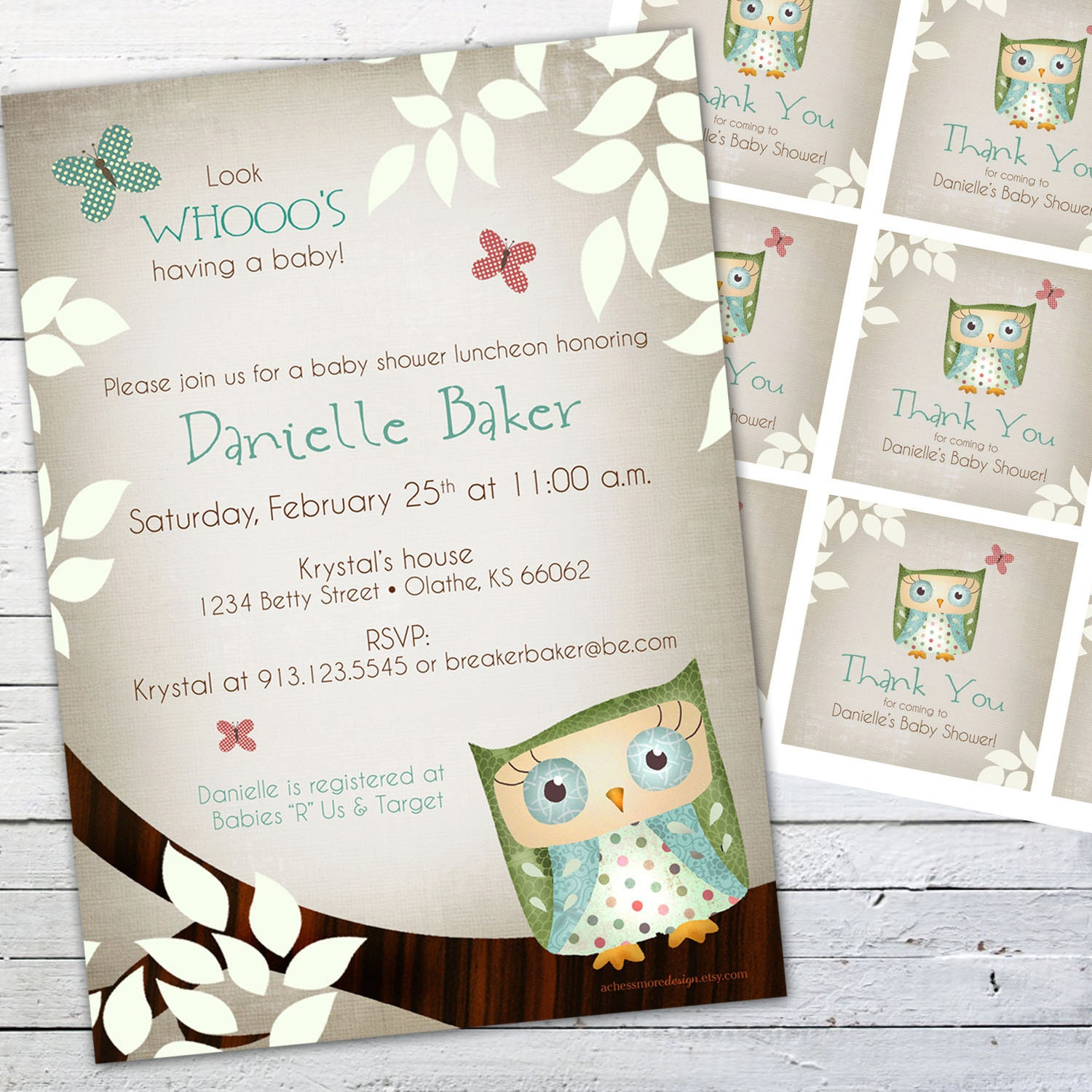 gender neutral owl baby shower invitation and gift bag tags little