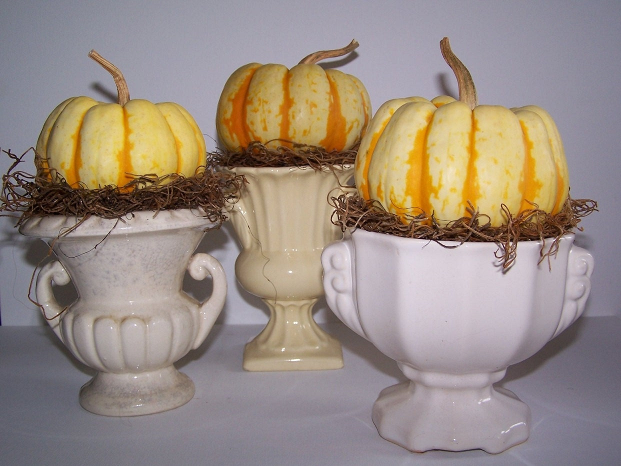 Set of 3 Vintage Urn Shaped Planters Home and Halloween Fall Thanksgiving Holiday Decor - bauble2bijou