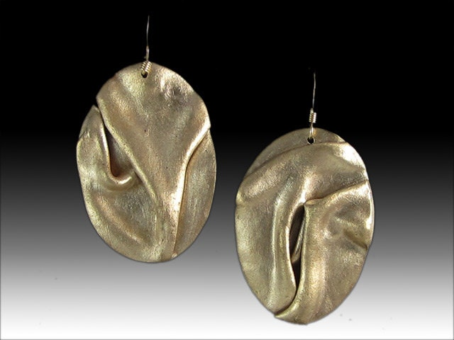 Handmade Abstract Large Gold Colored Bronze Earrings with 14k Gold Fill Earwires - BrackenDesigns