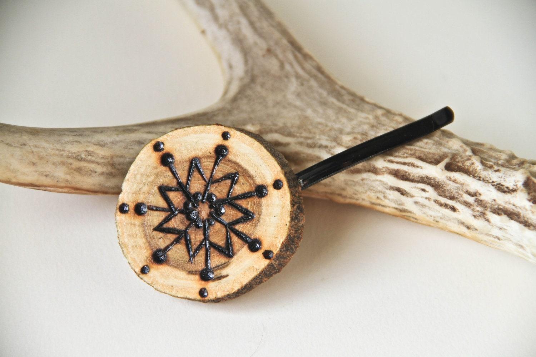 Wood Burned Hair Pin OOAK winter snowflake