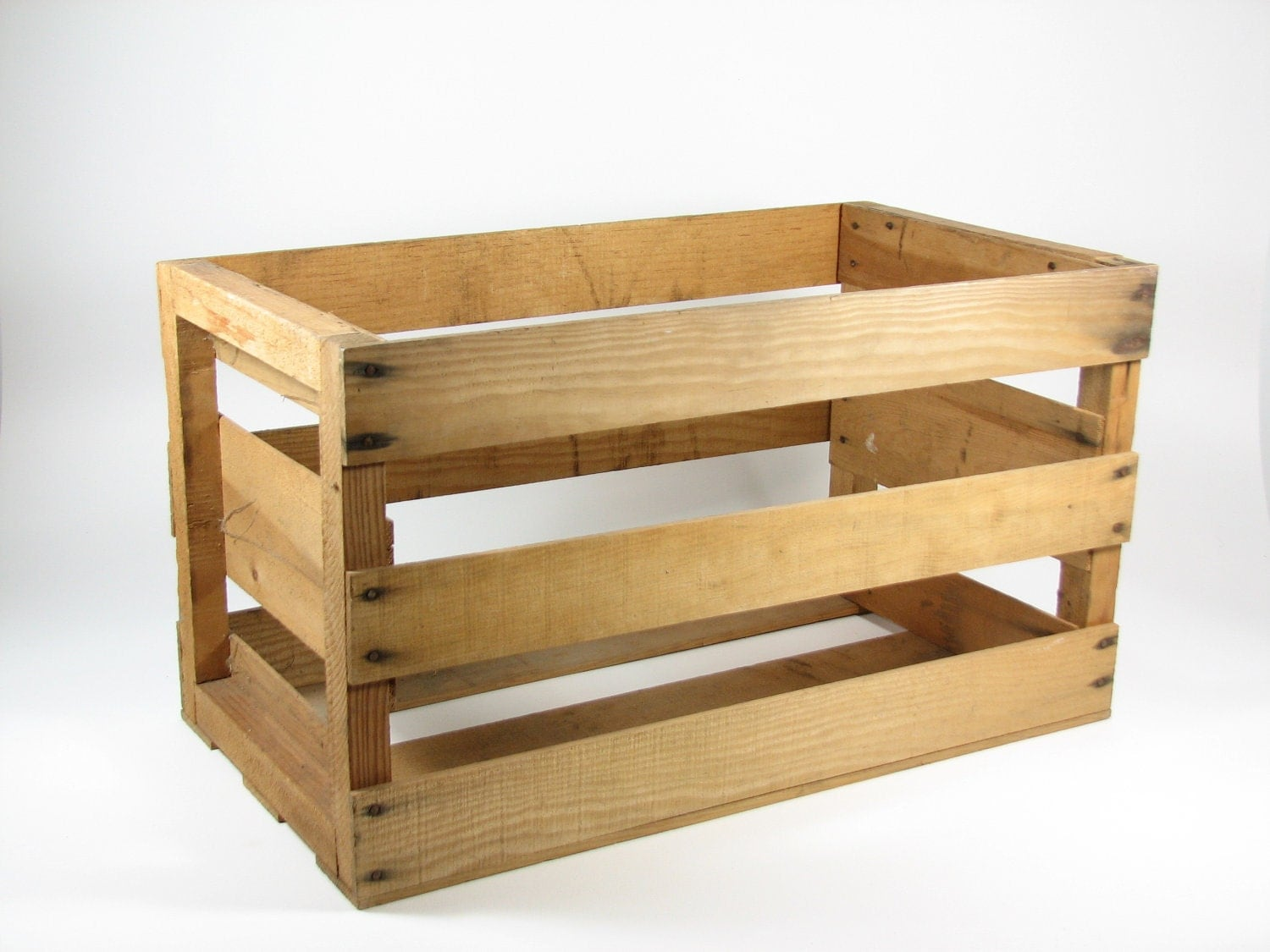 Vintage wood crate wooden box fruit tote by bridgewoodplace for Wooden fruit crates
