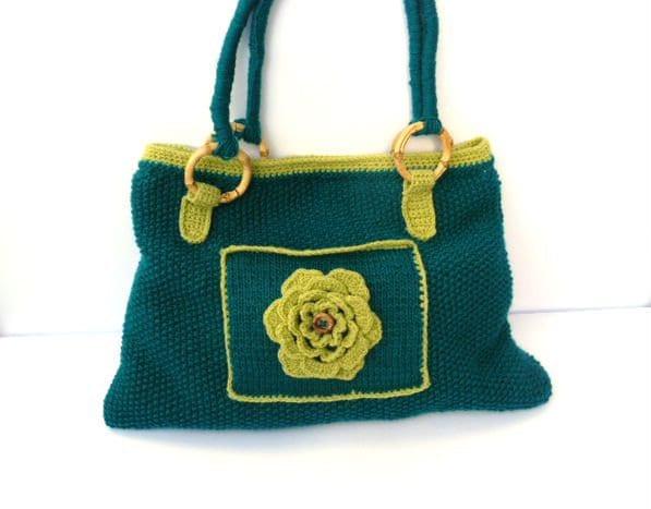Knit handbag, blue and green shaulder bag