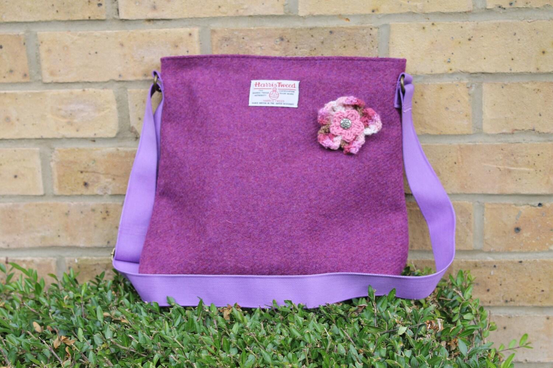 HARRIS TWEED bag crossbody bag Tweed purse berry pink  purple Harris tweed cloth