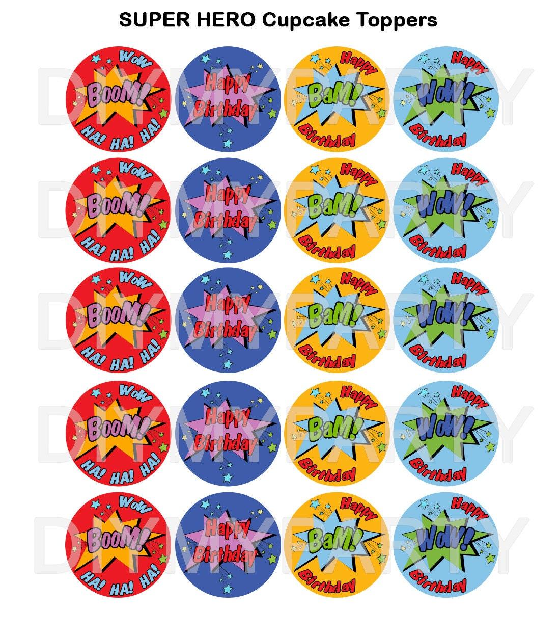 Printable Superhero Cupcake Toppers